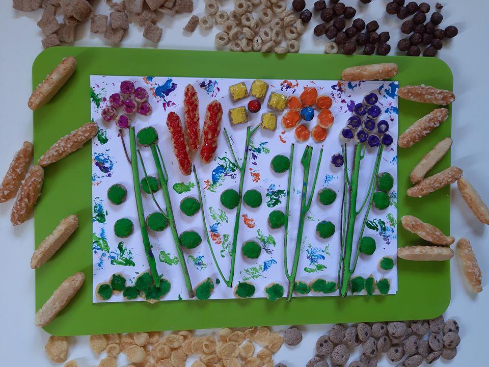 Pyszna łąka kwiatowa…….z płatków i ciasteczek